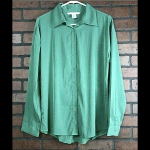Diane Von Furstenberg DVF Green Button Up Blouse